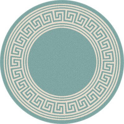 Fairhaven Aqua Indoor/Outdoor Area Rug Rug Size: Round 710