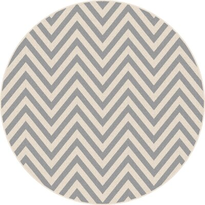 Martinique Gray/Cream Indoor/Outdoor Area Rug Rug Size: Round 710