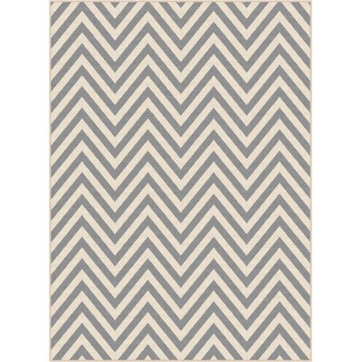 Fairhaven Gray/Cream Indoor/Outdoor Area Rug Rug Size: 53 x 73