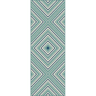 Martinique Aqua Indoor/Outdoor Area Rug Rug Size: Runner 27 x 73