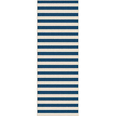 Martinique Navy/Cream Indoor/Outdoor Area Rug Rug Size: Runner 27 x 73