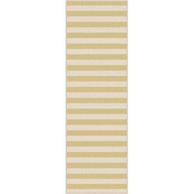 Fairhaven Yellow/Cream Indoor/Outdoor Area Rug Rug Size: Runner 27 x 73