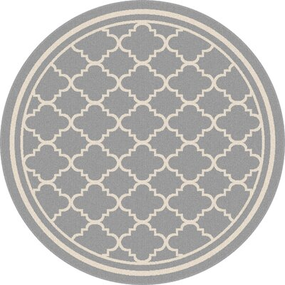 Fairhaven Gray Indoor/Outdoor Area Rug Rug Size: Round 710