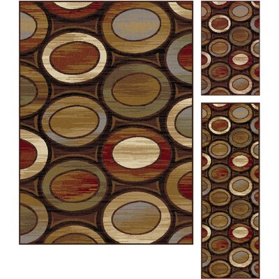 Williston 3 Piece Red/Beige Area Rug Set