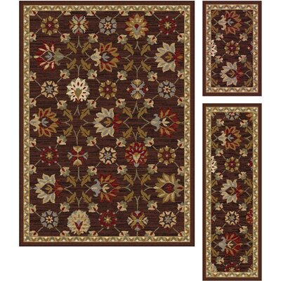 Windermere 3 Piece Red/Brown Area Rug Set