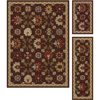 Windermere 3 Piece Red/Brown Area Rug Set