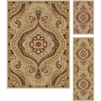Danville 3 Piece Ivory Area Rug Set
