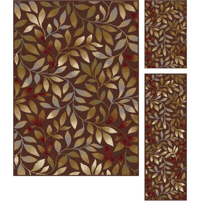 Nielsen 3 Piece Brown Area Rug Set