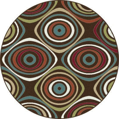 Berwick Brown Area Rug Rug Size: Round 710