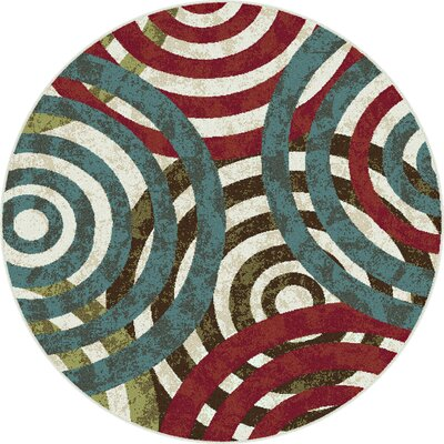 Berwick Red/Green Area Rug Rug Size: Round 710