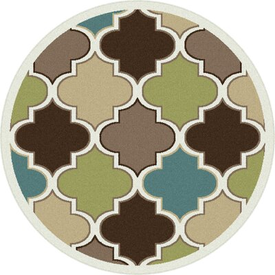 Berwick Green/Brown Area Rug Rug Size: Round 53