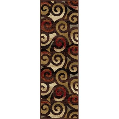 Oliver Red/Brown Area Rug Rug Size: Runner 27 x 73