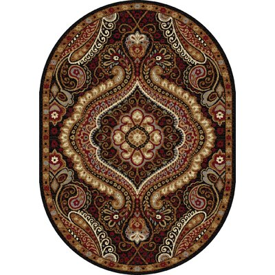 Monterey Brown/Red Area Rug Rug Size: Oval 53 x 73