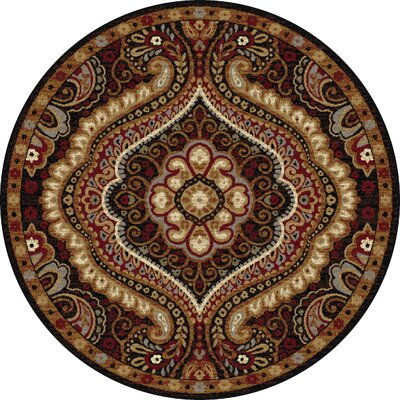 Monterey Brown/Red Area Rug Rug Size: Round 53