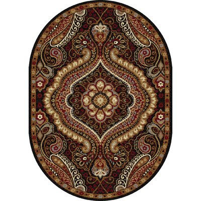 Monterey Brown/Red Area Rug Rug Size: Oval 67 x 96