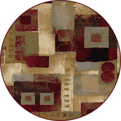 Barbarra Brown/Red Area Rug Rug Size: Round 53