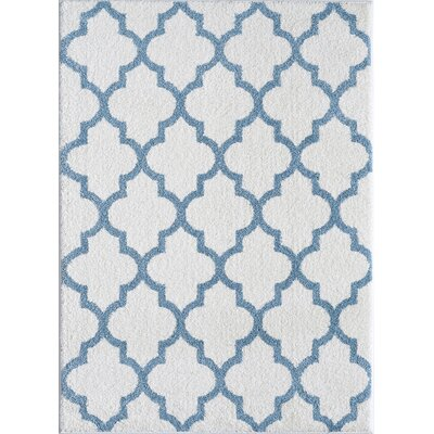 White and Cerulean Blue Area Rug Rug Size: 710 x 910