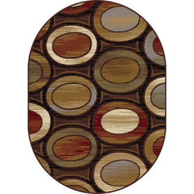 William Brown/Ivory Area Rug Rug Size: Oval 53 x 73