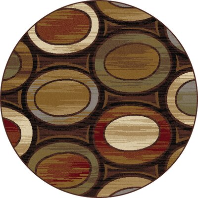 William Brown/Ivory Area Rug Rug Size: Round 710
