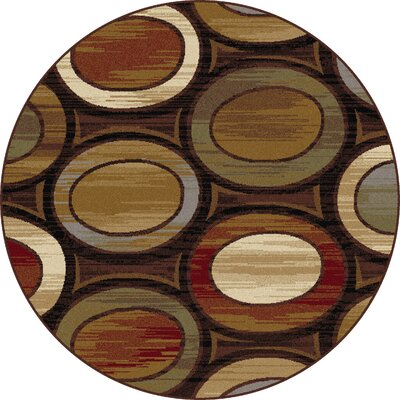 William Brown/Ivory Area Rug Rug Size: Round 53