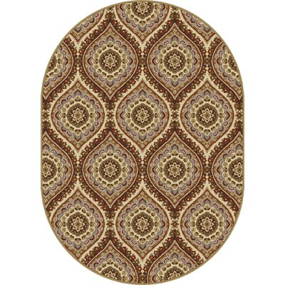 Clara Red/Beige Area Rug Rug Size: Oval 53 x 73