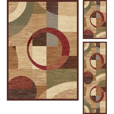 Litchford 3 Piece Red/Tan Area Rug Set