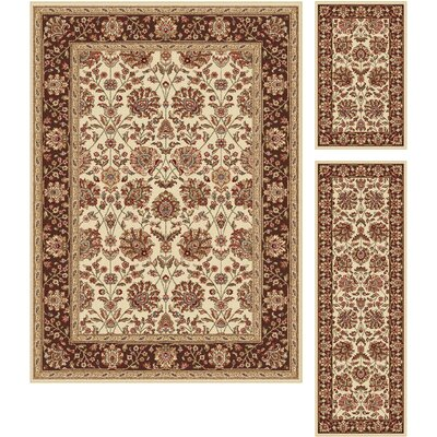 Troxell 3 Piece Beige Area Rug Set