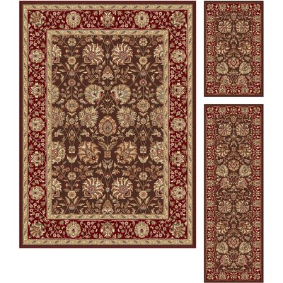 Troxell 3 Piece Brown/Red Area Rug Set