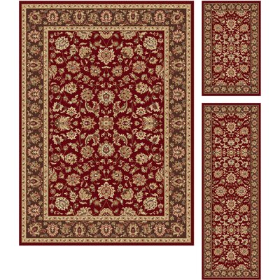 Troxell 3 Piece Red Area Rug Set
