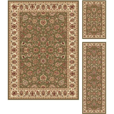Troxell 3 Piece Green Area Rug Set