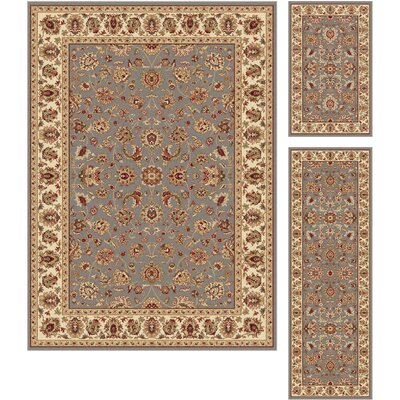 Troxell 3 Piece Blue/Beige Area Rug Set
