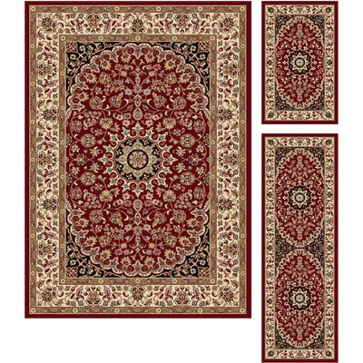 Langlee 3 Piece Traditional Red Area Rug Set