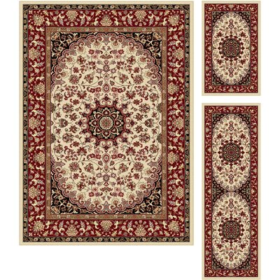 Langlee 3 Piece Beige/Red Area Rug Set