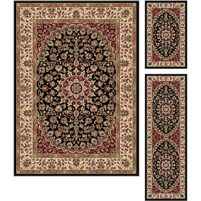 Langlee 3 Piece Black/Beige Area Rug Set