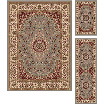 Langlee 3 Piece Red/Gray Area Rug Set