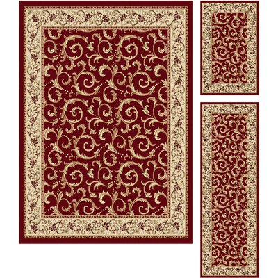 Langlee 3 Piece Floral Red Area Rug Set