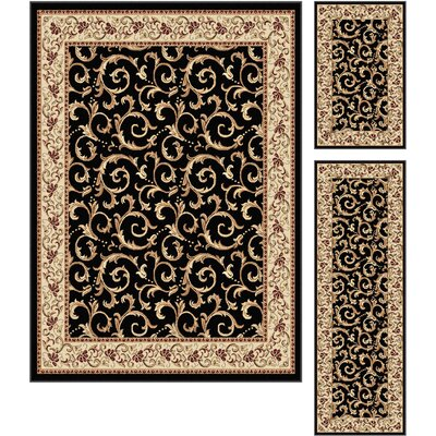 Langlee 3 Piece Black Area Rug Set