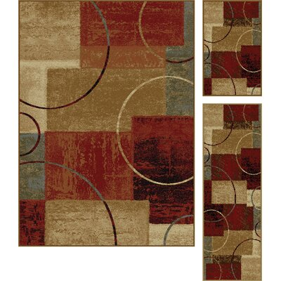 Colette Gold/Red 3 Piece Area Rug Set