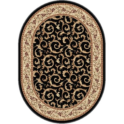 Langlee Black Area Rug Rug Size: Oval 67 x 96
