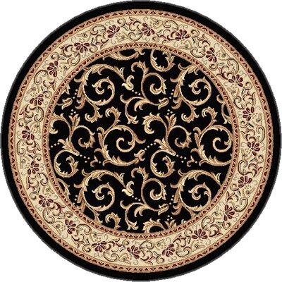Langlee Black Area Rug Rug Size: Round 53