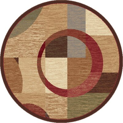 Colette Geometric Tan Area Rug Rug Size: Round 53