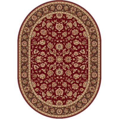Troxell Red Area Rug Rug Size: Oval 53 x 73