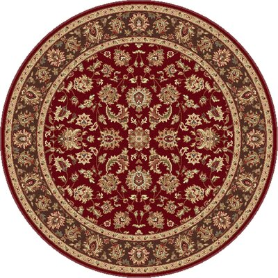 Laplant Red Area Rug Rug Size: Round 53