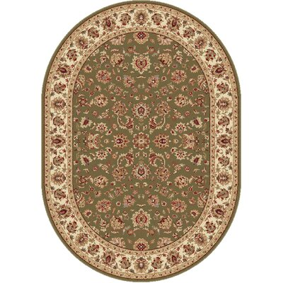 Laplant Oriental Orange Area Rug Rug Size: Oval 53 x 73