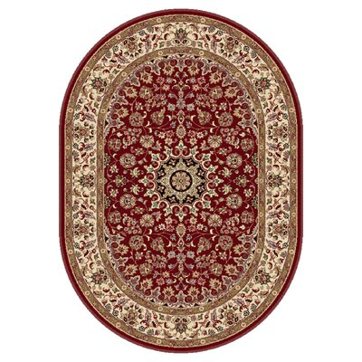 Langlee Transitional Red Area Rug Rug Size: Oval 53 x 73