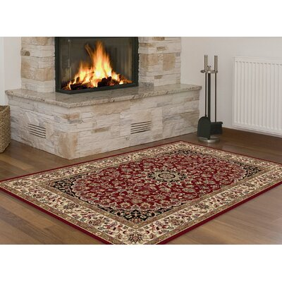 Langlee Transitional Red Area Rug Rug Size: Rectangle 93 x 125