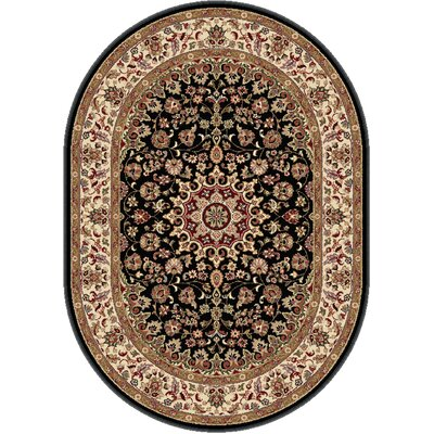 Langlee Black/Red Area Rug Rug Size: Oval 53 x 73