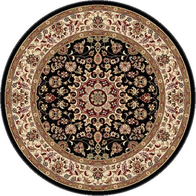 Langlee Black/Red Area Rug Rug Size: Round 53