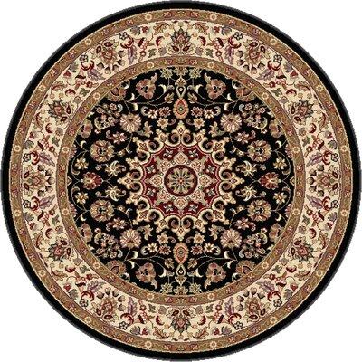 Langlee Black/Red Area Rug Rug Size: Round 53
