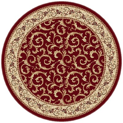 Langlee Red Floral Area Rug Rug Size: Round 53